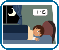 Woman not able to sleep at night as she is worried (illustration)
