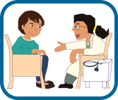 Illustration of woman talking to her doctor