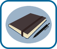 illustration of brown diary and pen