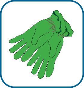 pair of green gardening gloves