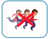 image of three of the same woman running, symbolising rushing. The image has a red cross through it.