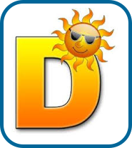 Big yellow letter D with a sun wearing glasses over it