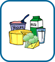 illustration of dairy-rich food and drinks - milk, cheese, broccoli, yoghurt