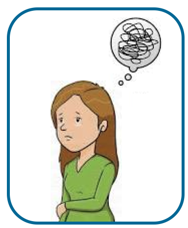 woman looking sad with thought bubble displaying scribble