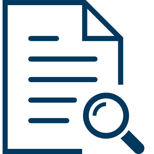 icon of fact sheet with magnifier symbol